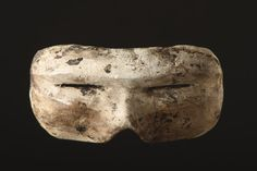Carved Wooden Eskimo Mask Form Snow Goggles 'I-Gauk' (1800 to 1900 Inuit