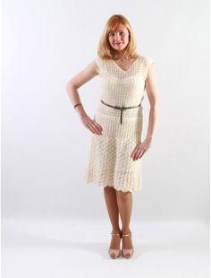 Genuine hand-rochet woman dress V-neckline by JSOTsHumanHeritage