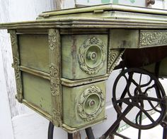 what happens when you paint out an antique sewing cabinet... wow!!