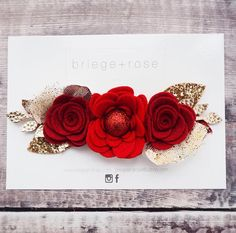 Red Christmas flower crown cake smash prop red and gold