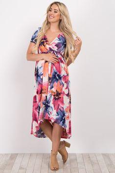 3bceb2686a05 Multi-Color Floral Hi-Low Maternity Nursing Wrap Dress