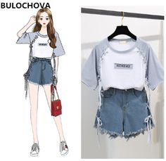 Womans Fashion Print Letters T-Shirt Tops + Short Jeans 2 Pieces Sets 2019 New S. Womans Fashion Print Letters T-Shirt Tops + Short Jeans 2 Pieces Sets 2019 New Summer Designer Women's Wide Leg Hot Pants Suit Source by RicopParker outfits korean Teen Fashion Outfits, Mode Outfits, Cute Fashion, Look Fashion, Trendy Outfits, Korean Fashion Teen, Classy Fashion, Party Fashion, Fall Outfits