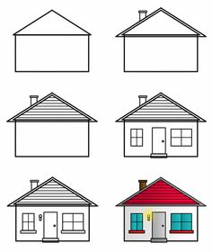 how to draw cartoon houses step 3 - Easy House Drawings