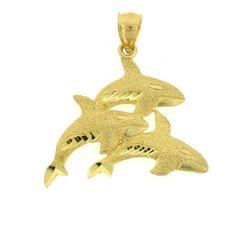 NEW 14k YELLOW GOLD WHALES NAUTICAL CHARM PENDANT JEWELRY in Jewelry & Watches, Fine Jewelry, Fine Charms & Charm Bracelets   eBay