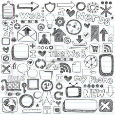 Web / Computer Doodle Icon Set - Back to School Style Sketchy Notebook Doodles Illustration Design Elements on LIned Sketchbook Paper Stock Photo