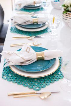 Host an Easter Lunch - Pottery Barn Plates, Kim Seybert placemats, Pier1 Napkin rings, West Elm Gold Flatware - Fashionable Hostess | Fashionable Hostess