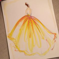 Sketch of the day: yellow organza ball gown. Sketch prints available at our online store. ChristianSiriano.com #cssketch