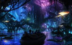 """Disney plans to bring James Cameron's fictional """"Avatar"""" paradise Pandora to life, with attractions that suspend floating mountains in the sky and recreate the planet's bioluminescent plants. Set to open in 2017 at Animal Kingdom. Guest may take a nocturnal cruise through the whimsical jungle, and families can walk through the Pandora-themed paradise. The park will also feature a ride that simulates a flight through the air on a mountain Banshee, the pterodactyl-like bird predator in the…"""