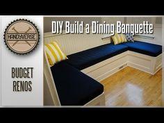 How to Build a Dining Nook/Banquette : Budget Renos Furniture Makeover, Diy Furniture, Dining Room Banquette, She Sheds, Breakfast Nook, Bunk Beds, Budgeting, Villa, Bedroom