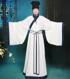 traditional men's hanfu; note: wide sleeves, sash