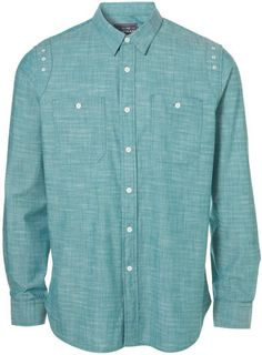 Green Cotton Chambray Shirt from Topman... like the little details too
