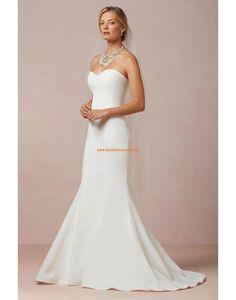 Schlichte Bodenlange Hochzeitskleider aus Satin