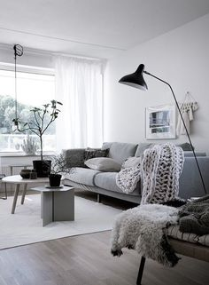 Nordic living room, chunky knit throw