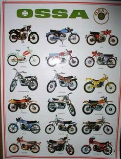 Ossa poster they are/were made in Spain. Enduro Motorcycle, Motorcycle Posters, Motocross Bikes, Motorcycle Engine, Vintage Bikes, Vintage Motorcycles, Cars And Motorcycles, Vespa 125, Old Bikes