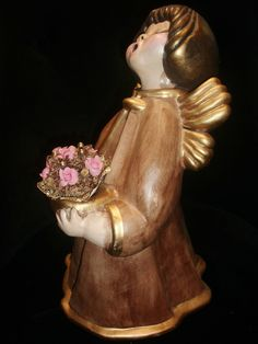 Thun Engel 36 cm Bozen Italy Barbara Braun Gold in OVP Neu E410 Mit Strauß Kerze | eBay