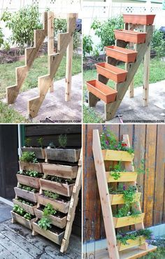 Vertical tiered ladder planter will be a clever way to save your limited space diy garden ideas DIY Ideas to Build a Vertical Garden for Small Space Garden Care, Garden Beds, Porch Garden, Fence Garden, Herbs Garden, Garden Ladder, Herb Garden Design, Diy Herb Garden, Small Garden Design