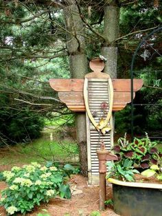 """An garden angel to watch over me. """"I am so excited about my Shutter Angel!"""" Jeanne Sammons says. """"She'll be out on the path to my 'Secret Garden in the Pines. Garden Whimsy, Diy Garden, Wooden Garden, Garden Crafts, Garden Projects, Glass Garden, Garden Fence Art, Upcycled Garden, Garden Junk"""