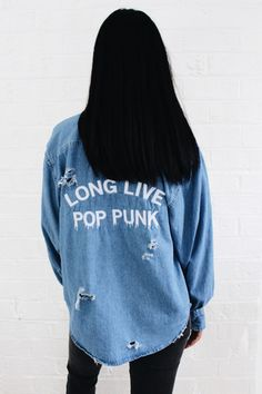 Long Live Pop Punk Destroyed Denim Shirt