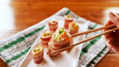 Keep calm and snack on with these keto diet friendly snacks. When you need a snack to get you through, these keto-approved mini-meals will do the trick. Diet Dinner Recipes, Sushi Recipes, Bacon Recipes, Keto Dinner, Low Carb Recipes, Cooking Recipes, Healthy Recipes, Best Keto Meals, Hcg Meals
