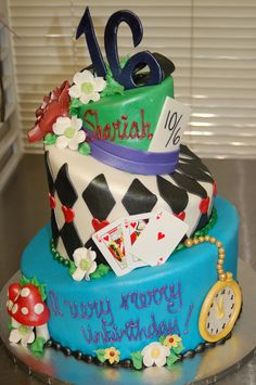 Playing Cards Centerpiece For Alice In Wonderland Sweet 16