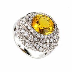 18K White Gold Yellow Citrine & Diamond Ring OICP9987YC