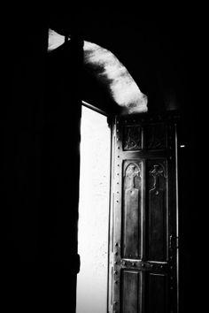 Medieval heavy wooden church door at St. Anne's in Jerusalem