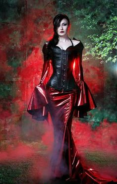 Wicked leather look tight skirt and bodice top on this #Goth girl.  Gothic Fashion   goth gothic style fashion girl women https://www.facebook.com/alternativestylepolska