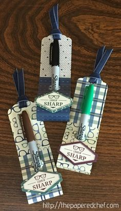 Lookin' Sharp Sharpie Gifts, designer series paper, DIY Sharpie holder, Lookin' Sharp, masculine crafts, Night of Navy Corduroy Ribbon, Occasions 2018, Sharpie, Sharpie gift, Sharpie Markers, Sharpies, Stampin' Up, Tailored Tag punch, teacher appreciation, teacher gift, True Gentleman, Truly Tailored