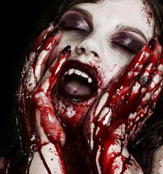 Ooh, pretty. Makeup and blood.