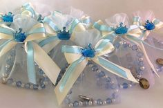 25 Pcs PARTY FAVORS RECUERDOS BAUTIZO ORGANZA BAG STRETCHY BRACELETS BLUE CROWN #Unbranded #BAPTISMBAUTIZO