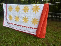 Yellow Flower Queen Sized Quilt. $650.00, via Etsy.
