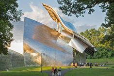 """For the Richard B. Fisher Center in Annandale-on-Hudson, New York, Gehry worked in collaboration with acoustician Yasuhisa Toyota and a team of theater consultants. """"The front façade of the building can be interpreted as a theatrical mask that covers the raw face of the performance space. Its abstract forms prepare the visitor to be receptive to experiencing the performances that occur within,"""" Gehry said of his design. #dwell #moderndesign #modernarchitecture"""