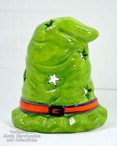 Ceramic Halloween Witch's Hat Tea Light or Votive Candle Holder Green Decor Star