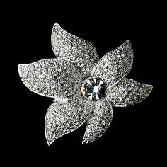 Sparkling Antique Silver Rhinestone or Diamond White Starfish Orchid Brooch 67