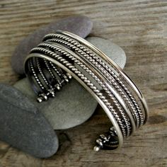Sterling Silver Bracelet, Multi Cuff Design Made in Recycled Argentium Sterling Silver