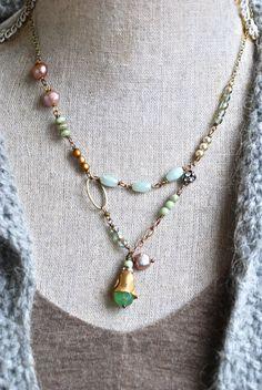 Hazel. layered gemstone charm bohemian necklace. by tiedupmemories