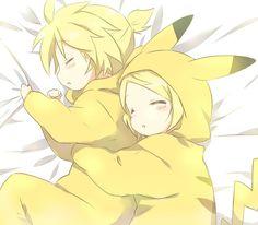 Rin et Len En pikachu °w° Ils sont adorables !