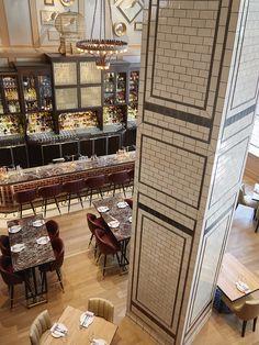 Take a peek at Lago Bellagio Restaurant Decor Ideas By Studio Munge Food Court Design, Pub Design, Retail Design, Restaurant Interior Design, Cafe Interior, Restaurant Interiors, Column Design, Floor Design, Restaurant Lighting