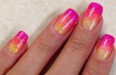 Ombré Nails Pink Coral Yellow Glitter Ombré Summer Nail Art Design #ByMargarita