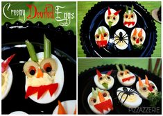 Creepy Devil eggs.  Place in Halloween cupcake cups for presentation