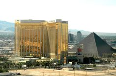 Mandalay Bay Hotel the gold that's you. The pyramid is the Luxor. David Blaine is usually there.