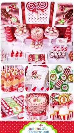 Fiesta de Navidad & Gingerbread imprimibles - descarga inmediata - dulces de Navidad - Set enorme fiesta por partes de Amanda a Go - 60% de descuento