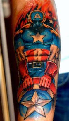 marvel tattoos   Marvel Captain America tattoo