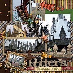 Harry_potter_web_right - MouseScrappers - Disney Scrapbooking Gallery Album Scrapbook, Scrapbook Background, Vacation Scrapbook, Disney Scrapbook Pages, Scrapbook Sketches, Scrapbook Page Layouts, Scrapbook Paper Crafts, Scrapbooking Ideas, Universal Studios