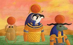 Lesdieux d'Egypte De nouvelles illustrations pour le parascolaire, cette foison part en Egypte au temps des pharaons et des dieux Le dieu Rê Le dieu soleil se transforme au cours de la journée, à l'aubeil est Khépri le scarabée, à midi il est le faucon Horakhty qui s'élève dans le ciel et enfin le soir, il devientdieu à tête de bélier,Atoum qui signifie, celui qui va mourir.  Le dieu Horus Dieu à tête de faucon, Horus règne sur l'Egypte, le pharaon est à la fois son héri...