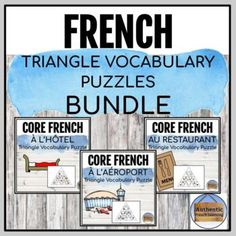 This is a great way for your Core French or Immersion students to practice French vocabulary in a hands-on way! Print the puzzle and place it in a learning center or print multiple copies and have students complete it together in small groups. This is a bundle of triangle vocabulary puzzles for all ...