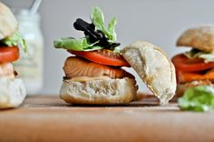 Salmon BLT Sliders with Chipotle Mayo http://www.howsweeteats.com/2012/05/crispy-salmon-blt-sliders-with-chipotle-mayo/
