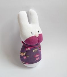 plush bunny rabbit sock animal doll sock by TreacherCreatures, $18.00