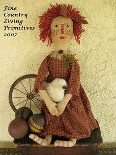Primitive Raggedy Annie Sweet and her sheep e-pattern
