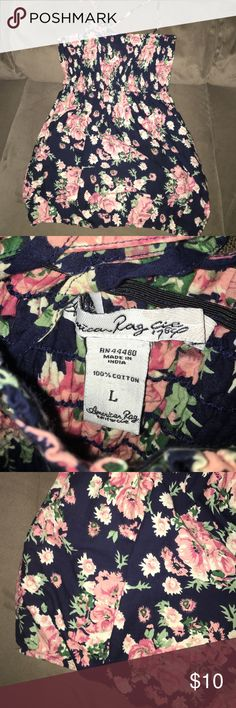 American Rag Cie Summer Top Size Large Super cute. Great for the summer. Awesome design. In excellent condition. No holes stains or rips. Cute spaghetti straps. No trades or Mercari. Lowest offer is the price listed. Navy in color and beautiful floral design. American Rag Tops Tank Tops